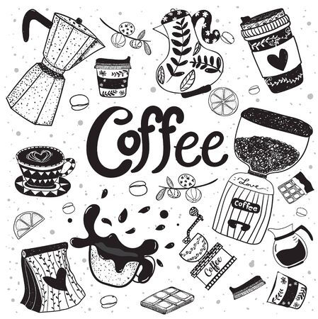 Cute doodle coffee equipment hand drawing flat vector element