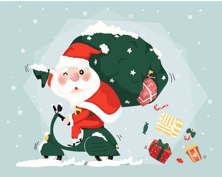 Santa clause ride scooter delivery present boxes  christmas cute flat vector Ilustracja