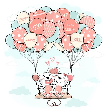 cute mice lover couple hug and sit on colourful pastel balloon swing on blue sky, cute flat vector character cartoon animal design for greeting card, childhood stuff printing