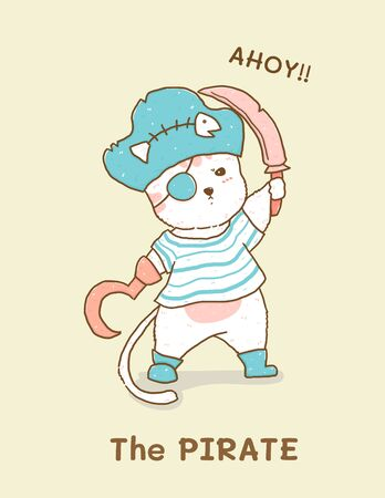cute white cat in pirate costume, children illustration flat vector idea for greeting card, kid, nursery stuff print Фото со стока - 148443621