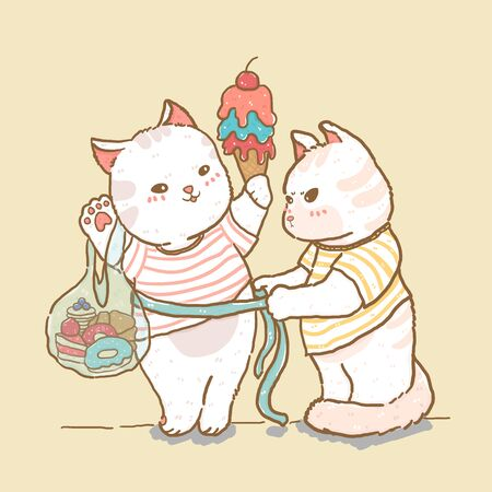 cute cat measure lady cat holding ice cream and sweet bag, fat cat couple, flat vector element line doodle drawing, idea for child nursery stuff print, greeting card