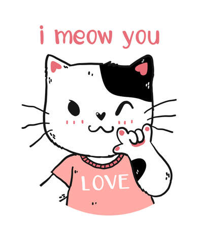 cute happy white and pink cat i meow you with love you hand gesture signage portrait half body doodle cartoon.