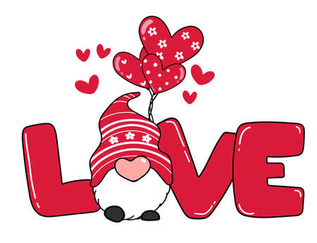 Valentine Gnome with LOVE letter and heart balloon, red valentine gnome cartoon vector doodle