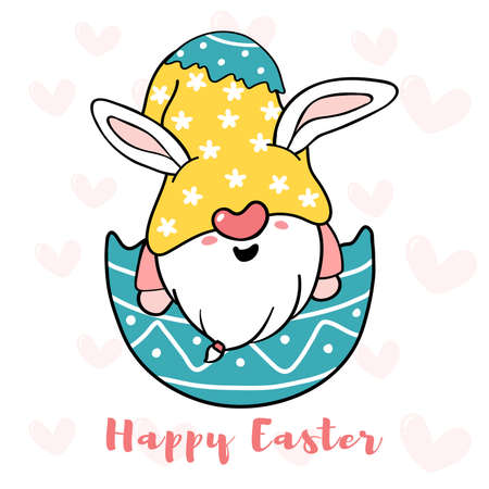 Cute Bunny Gnome in broken Easter Egg, Happy Easter cartoon doodle vector