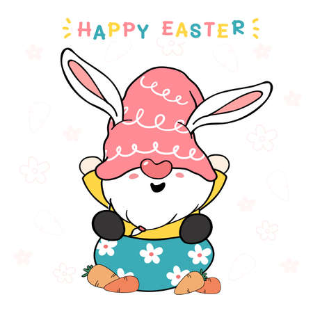 cute bunny gnome on egg with carrot, happy Easter. Gnome in pink hat sweet pastel cartoon vector