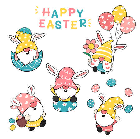 Cute Bunny ears Gnome Happy Easter pastel cartoon doodle illustration clip art collection