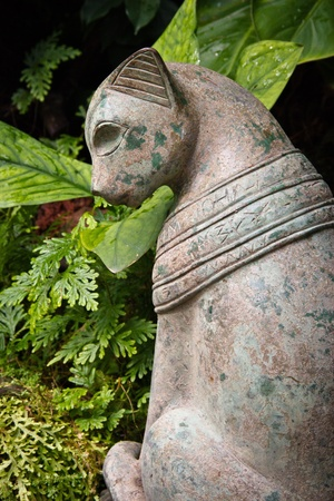 Stone cat statue photo