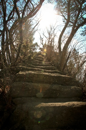 pearly gates: A stone stairsway that leads towards the sun and the heaven