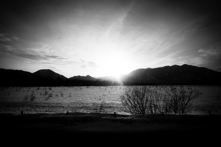 impoverished: Winter barren plains in black and white Stock Photo