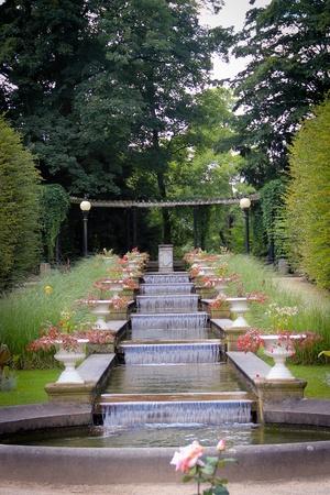 vegatation: A small fountain in a green botanic garden Stock Photo