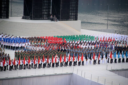 national day: Marching soldiers during National day parade rehearsal