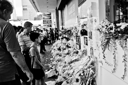 Remembrance wall opposite Parliament House during the national mourning of Lee Kuan Yew