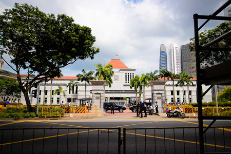 Singapore Parliament House during national mourning for the death of Lee Kuan Yew