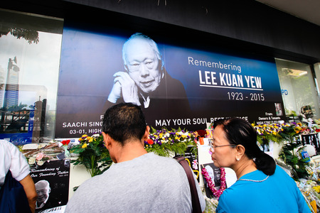 Remembrance wall opposite Parliament House during the national mourning of Lee Kuan Yew Redakční