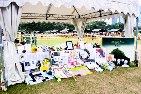 Remembrance wall at the Padang during the national mourning of Lee Kuan Yew