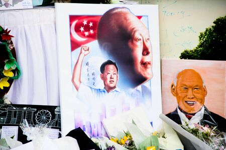 Remembrance art at the Padang during the national mourning of Lee Kuan Yew Redakční