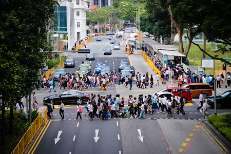 Road crossing during the national mourning of Lee Kuan Yew