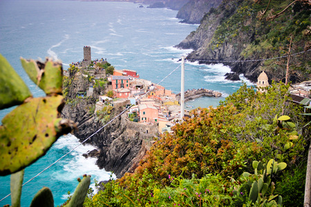 rockwall: A cliff side town at Cinque Terre with the sky