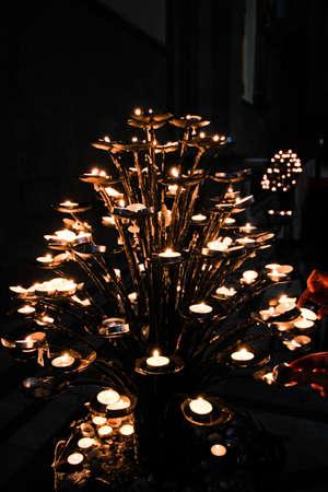 catholism: Interior of Basilica of Santa Maria Novella candles