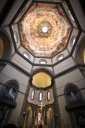 catholism: Interior of Basilica of Santa Maria Novella roof ceiling Editorial