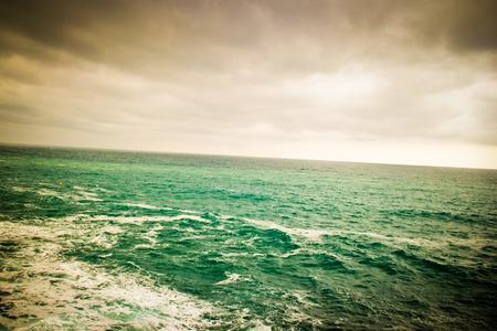 ''cinque terre'': Choppy seas and the horizon at Cinque Terre Stock Photo