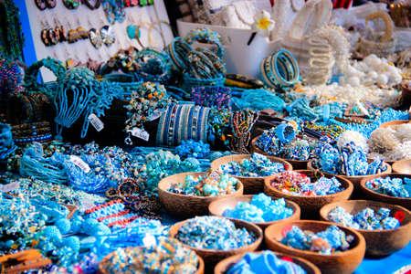 fleamarket: Blue Colour Coordinated materials at a stall