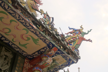 malaysia culture: Roof ornament on a chinese temple in penang malaysia