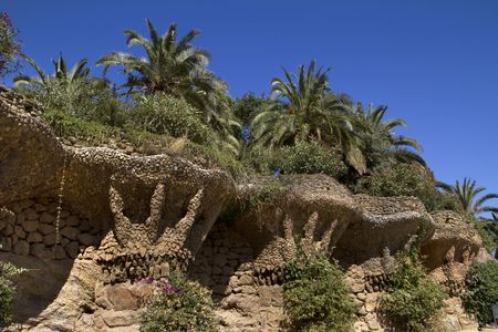 Public Park Guell from Barcelona showing some stone archs from the famous architect Gaudi from 1930s Banco de Imagens