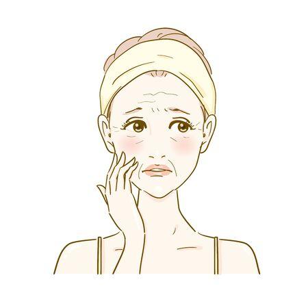 Skin care wrinkles, sagging aging skin