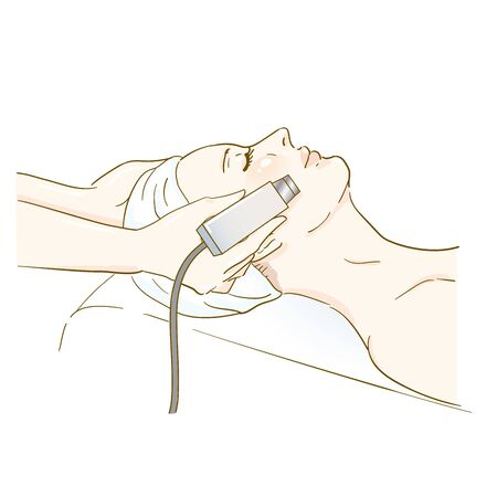 Esthetic professional treatment scene ultrasound Vecteurs
