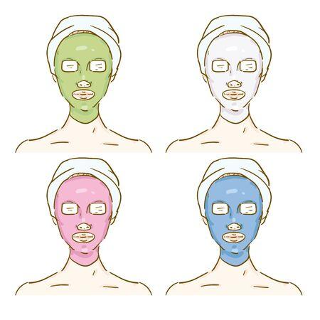 Esthetic Professional Treatment Scene Facial Pack Vecteurs