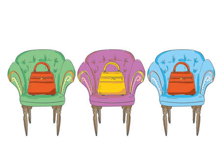 Chare Illustration Sofa and Bag Color