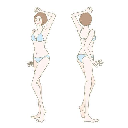 Body for esthetic, cosmetic surgery, treatment site explanation Stock Illustratie
