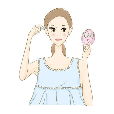 a woman with mascara 矢量图像