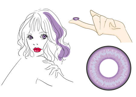 Color Contact Lens Color Control Mounting Image Illustration