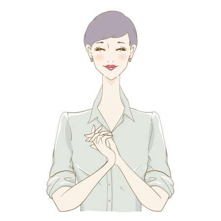 Smiling Woman Short hair