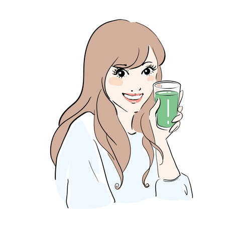 Smiling woman drinking aojiru