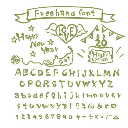 Cute handwritten bad font Alphabet numerals Vektorové ilustrace