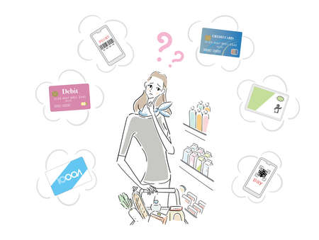 Beautiful woman shopping is troubled by payment method