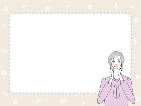 Troubled Senior Woman  イラスト・ベクター素材