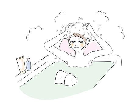 Cute Woman Bath Time Hair Wash