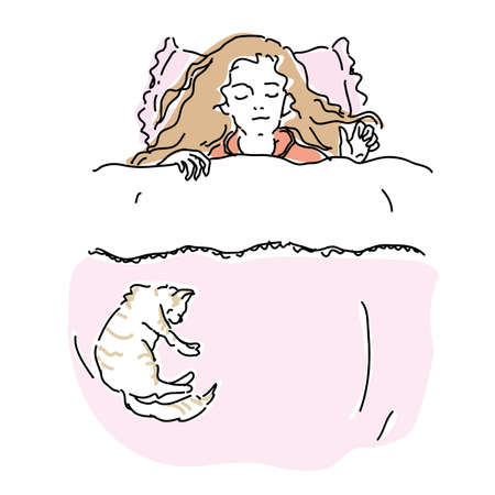 Woman sleeping with cat in bed Vektoros illusztráció