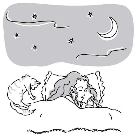 Woman sleeping with cat in bed