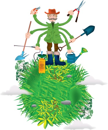 Global gardener Illustration