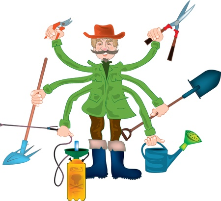 pruning: Gardener grandpa, color  cartoon illustration Illustration