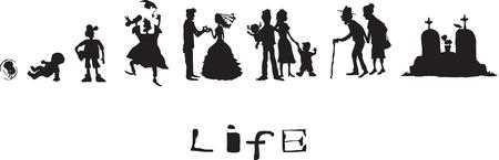 vejez: La vida, nacido, infancia, a�os de la escuela, el matrimonio, la vejez, la muerte Vectores