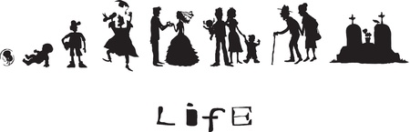 Life, born, childhood, school years, marriage, old age, death Stock Vector - 12905110