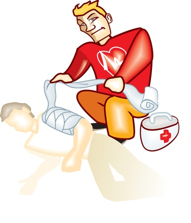 bandages: First aid man Illustration