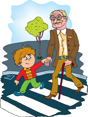helpful children to help the old man  color vector Vector