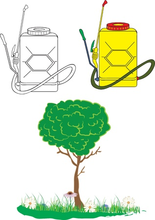garden sprayer and tree with flowers, color vector